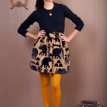 High waist velvet elephants puffy skirt, royal blue velvet elephants skirt, puffy skirt