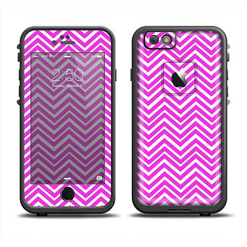The Hot Pink Thin Sharp Chevron Apple iPhone 6 LifeProof Fre Case Skin Set