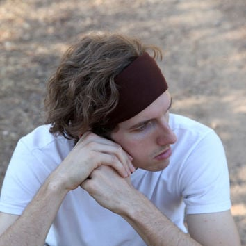 Mens Headband, Brown Headband, Men's Headbands, Running Headband (Item 1002) Large