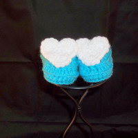 0 to 3 Months Size Crochet Slip On Blue Booties with White Hearts