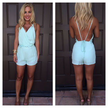 Flower Child Open Back Romper - MINT