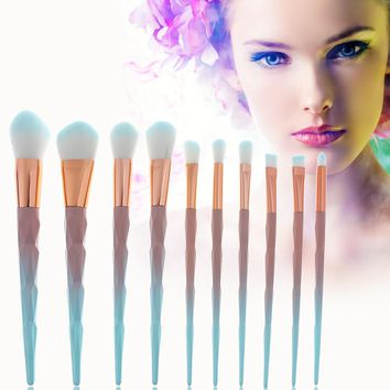 10Pcs Unicorn Diamond Makeup Brush Set Rainbow Handle Makeup Brushes Cosmetics Blusher Powder Blending maquillaje profesional
