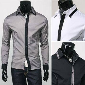 Men's Slim Two Color Striped Shirt