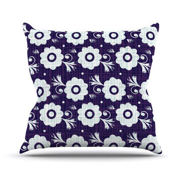 "Louise Machado ""Navy Flower"" Purple White Outdoor Throw Pillow"
