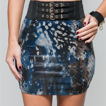 High Waist Animal Print Belted Mini Skirt in Blue & Black