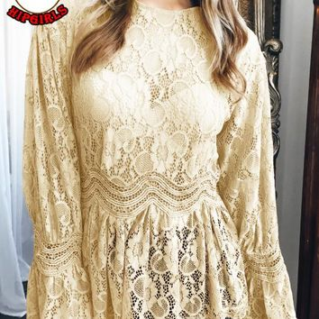 Autumn And Winter New fashion lace long sleeve top women Yellow