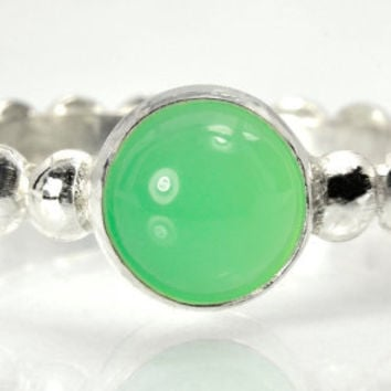Lime Green Stacking Ring, Sterling Silver Ring with Chrysoprase Jewel