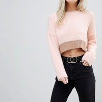 Miss Selfridge Petite Fluffy Color Block Sweater at asos.com