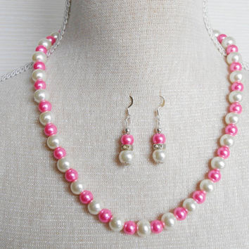 Ivory and hot pink Pearl set, Bridesmaid set, Gift for wife, Etsy jewelry, Jewelry set, Mother of the groom, Gift for daughter,