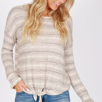 Long Sleeve Tie Top Taupe