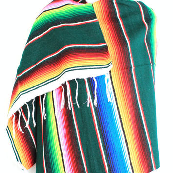 Mexican Blanket Serape Scarf, Womens Scarfs, Tribal Poncho, Chunky Scarf, Fall Scarves, Boho Shawl, Upcycled,