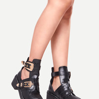 Black Faux Leather Buckle Strap Chunky Heel Shoes -SheIn(Sheinside)