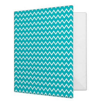 Teal Turquoise Blue Chevron Zigzag Pattern 3 Ring Binder