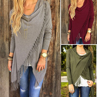 New Casual Women Long Sleeve Solid Color Tassel Slash Blouse Tops Shirt Blouse