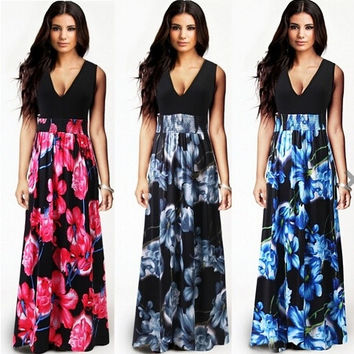 Women's Fashion Bohemia Style Floral Sleeveless Party Beach Dress = 1955648260