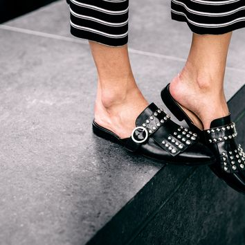 Leather Studded Mules