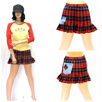 Vintage 70s Pendleton tartan wool mini skirt XS S grunge punk upcycled 1970s Boyds Tartan red plaid school girl skirt  SunnyBohoVintage
