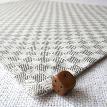 Chequer fabric placemat Grey dining  table linen cloth napkin Under plate mats