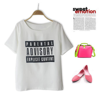 Simple Design Alphabet Print Casual T-shirts [4918276036]