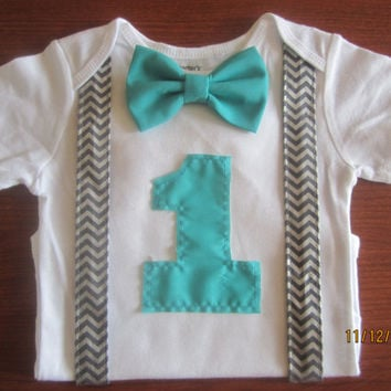 Boy Grey Chevron Suspender Shirt Birthday Bodysuit First OutfitBoy