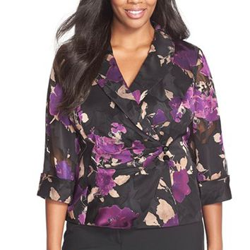 Plus Size Women's Alex Evenings Floral Print Wrap Front Blouse,