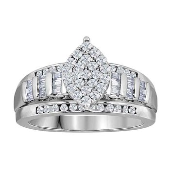 10kt White Gold Women's Round Diamond Oval Cluster Bridal Wedding Engagement Ring 1/2 Cttw - FREE Shipping (US/CAN)