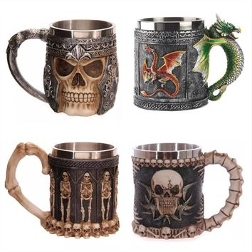 350ML Double Wall Stainless Steel 3D Skull Mugs
