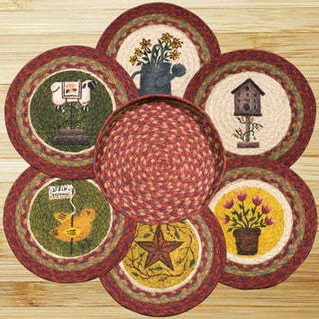 Spring Round Trivets in a Basket (Set of 7)