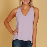 V-Neck Tank Blouse Dove Grey