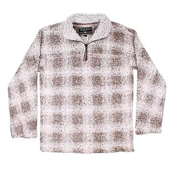 Softest Tip Box Plaid Shearling 1/4 Zip Pullover in Brown by True Grit