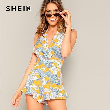 SHEIN Boho Crisscross Open Back Jungle Leaf Print Ruffle Rompers Womens Playsuit Summer Sleeveless Casual Sexy Beach Playsuits
