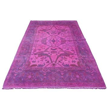 6x9 Overdyed Hot Pink Rug Turkish Ushak 100% Wool 2938
