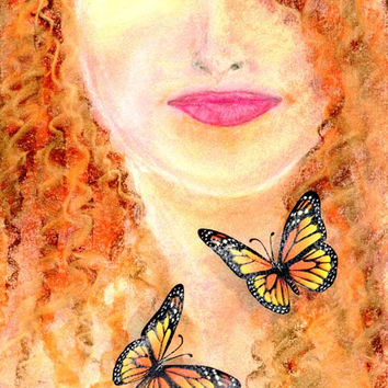 Fine art print Pastel Portrait Drawing woman with Butterflies Surreal hippie art Mother Nature Bright colors From original pastel drawing