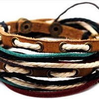 Adjustable Bracelet Cuff made of Brown Leather Multicolour Ropes and metal Woven Snapper  486S