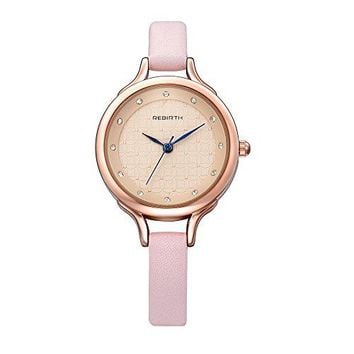 Bosymart Womens Rose GoldTone Analog Quartz Leather Strap Watch