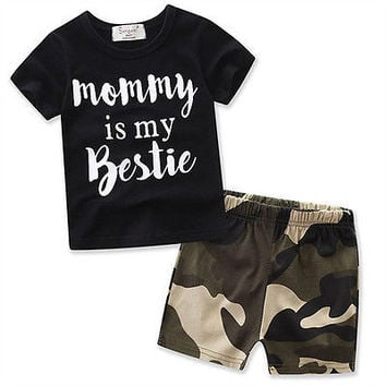 2Pcs Camouflage set Newborn Kids Baby Boys Girls Cute Tops Romper +Long Pants Outfits Cotton Clothes