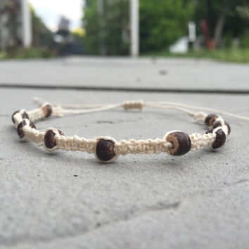 adjustable macrame hemp cord anklet with wooden beads