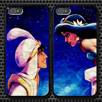 Aladdin and Princess Jasmine iPhone 5 4/4S Samsung Galaxy S3 S2 S3 Mini Hard Plastic Glossy Couple Cases 0001