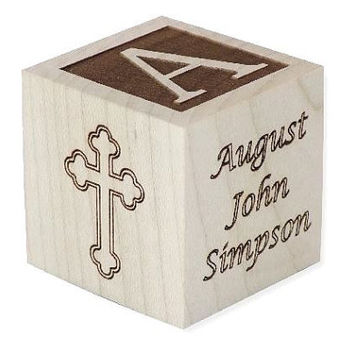 Personalized Baptism Gift, Baby's Baptism Block, Baby Gift, Dedication Gift, Wooden Engraved Baby Block, Unique Baptism Gift