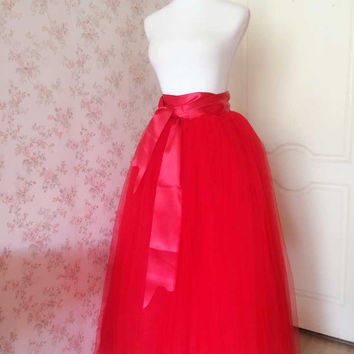 Maxi Tulle Skirt Red Tulle Skirt Red Wedding tutus - long Tutus maxi tutus - Princess Skirt Petticoat Red bridesmaid skirts -magic1668