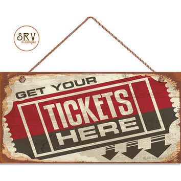 "Retro CINEMA Sign, Get Your Tickets Here, Movie Ticket Sign, Movie Theater Decor, 5"" x 10"" Sign, Entertainment, Movie Night, Made To Order"