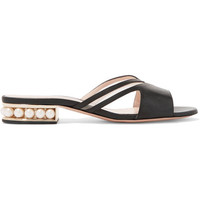 Nicholas Kirkwood - Casati mesh-paneled embellished leather slides