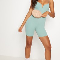 Mint V Bar Strappy Unitard