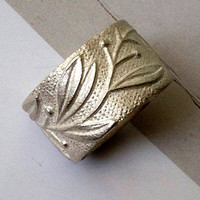 Wedding Band, Floral Pattern Ring, Silver Floral Wedding Ring.