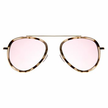 Illesteva Dorchester Ace 52mm White Tortoise Gold Sunglasses / Rose Flat Lenses
