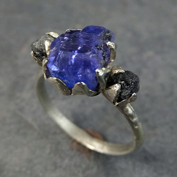 Raw Diamond Tanzanite Gemstone 14k White Gold Engagement Ring Wedding Ring One Of a Kind Gemstone Ring Bespoke Three stone Ring byAngeline