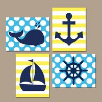 BOY NAUTICAL Wall Art, Baby Boy Nautical Nursery Decor, Nautical Bathroom Decor, Whale Anchor Sailboat Wheel, CANVAS or Prints, Set of 4