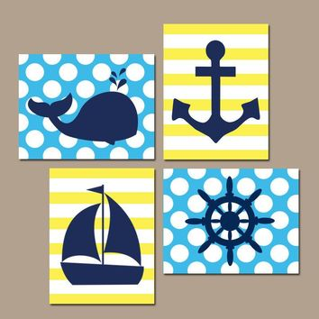 BOY NAUTICAL Wall Art, Baby Boy Nautical Nursery Decor, Ocean Bathroom Decor, Whale Anchor Sailboat Wheel, CANVAS or Prints, Set of 4