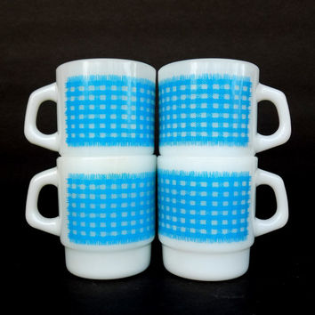 Vintage Fire King Mugs - Blue Calico Mugs - Set of 4 - Plaid - Gingham - D Handle  Stackable Milk Glass Mugs Anchor Hocking