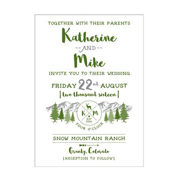 Mountain Camp Wedding Invitation Collection